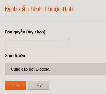 Cấu hình widget cung cấp bởi blogger
