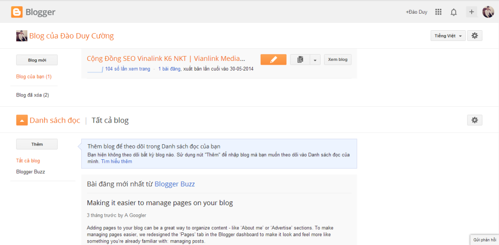 Hướng dẫn tạo Blogspot/Blogger và tổng quan về Blogspot