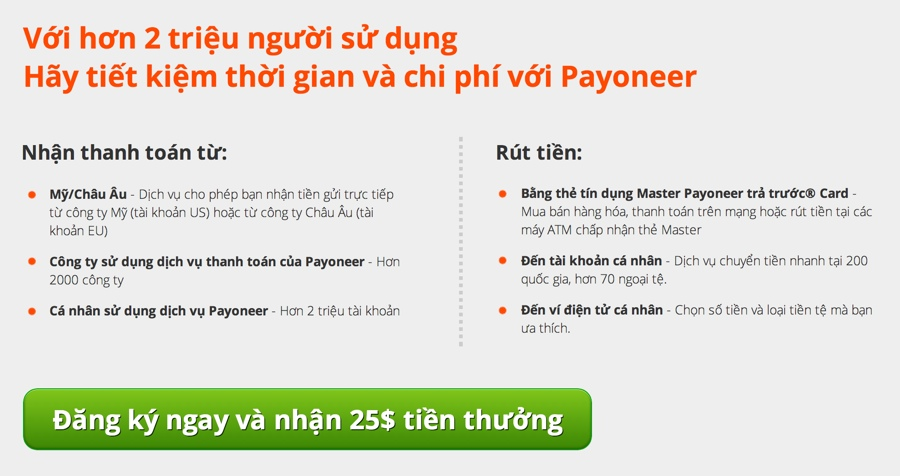 Hướng dẫn đăng ký Payoneer và nhận $25 tiền thưởng