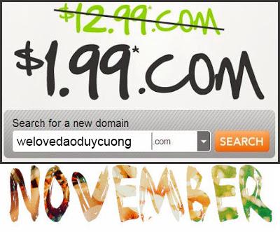 domain .Com $1.99 tại GoDaddy