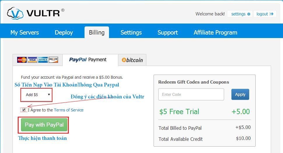 Đăng ký và tạo VPS tại Vultr nhân 25$ miễn phí