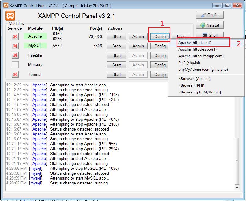 Cấu hình Xampp và khởi động Apache khi bị chiếm cổng 80