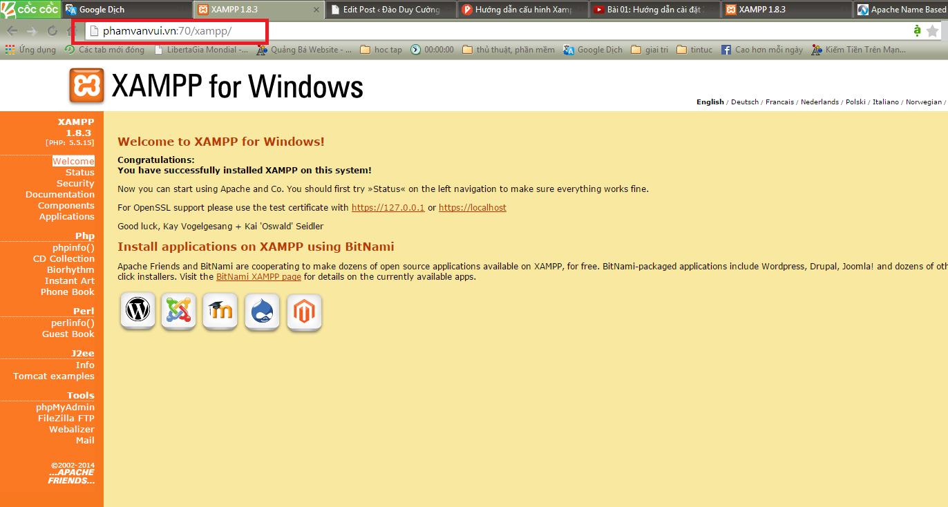 Trỏ IP và thay domain localhost về tên website