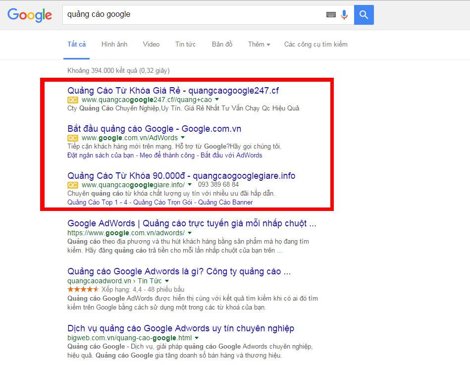 Hiển thị quảng cáo google adwords với mạng tìm kiếm