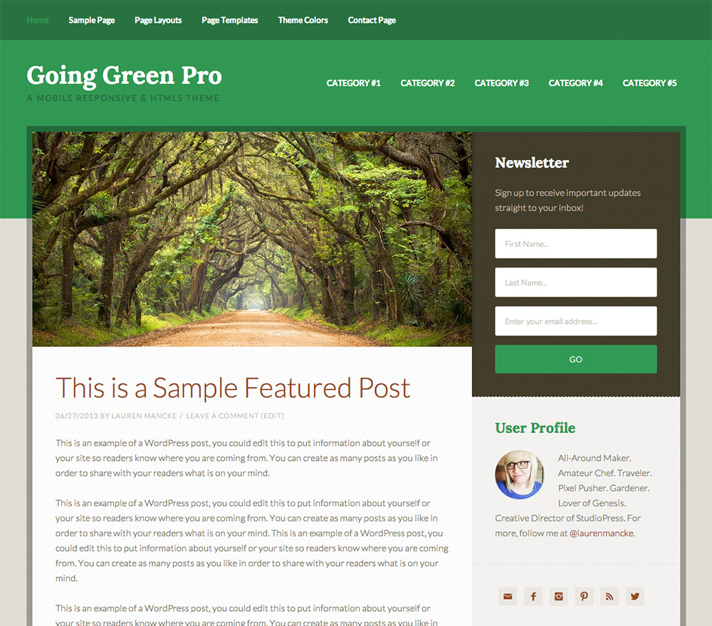 Share Theme Going Green Pro Theme - Theme đẹp của StudioPress
